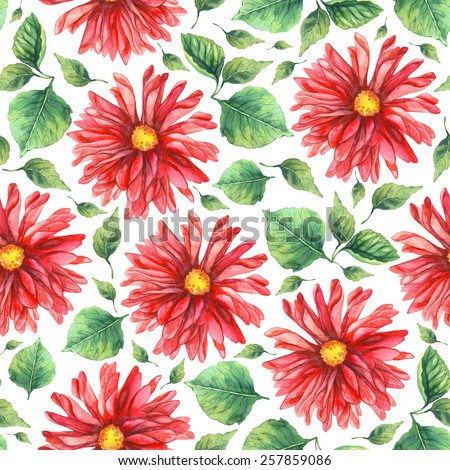 seamless pattern with dahlias. watercolor - stock photo