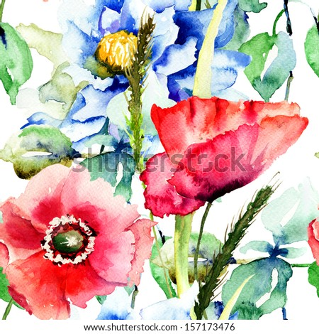 Seamless pattern with decorative flowers, watercolor illustration