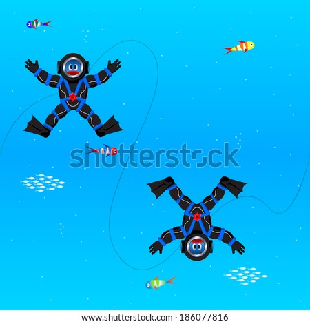 Seamless pattern with divers in deep sea - stock photo