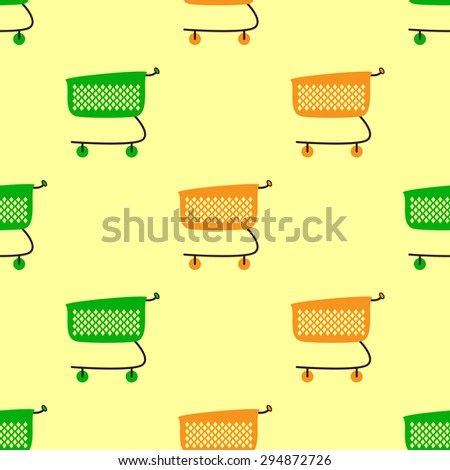 Seamless pattern with empty green and orange colored plastic shopping cart isolated on yellow background - stock photo