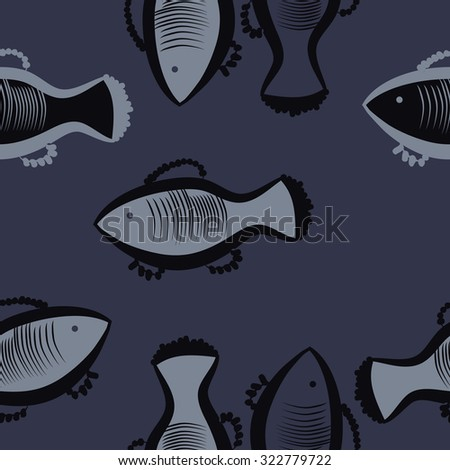 Seamless   pattern with fishes motif, spots,fish, ellipses. Hand drawn.
