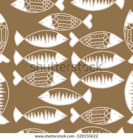 Seamless   pattern with fishes   motif, spots,fish, ellipses, zigzag . Hand drawn.