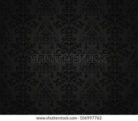Seamless pattern with floral element in retro style - stock photo