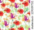 seamless pattern with flowers. - stock photo