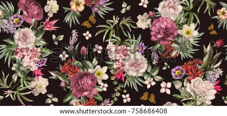 Seamless Pattern With Flowers And Exotic Leaves On Black Background Floral For Wallpaper Or