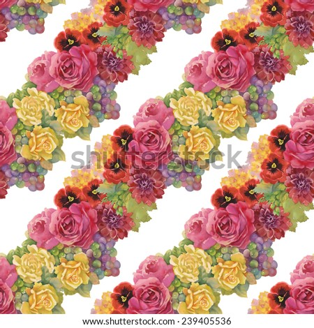 Seamless pattern with flowers and grape on white background - stock photo