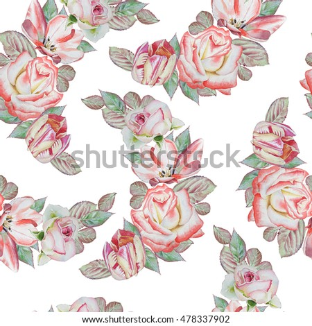 Seamless pattern with flowers. Rose. Tulip. Watercolor illustration. Hand drawn
