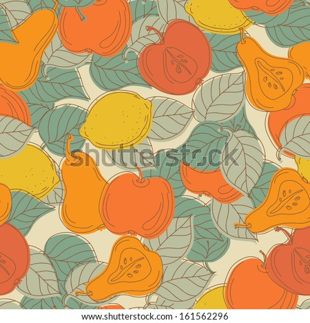 Seamless pattern with fruits - raster version - stock photo