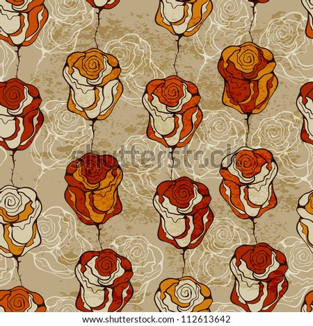 seamless  pattern with funky roses, grungy texture - stock photo