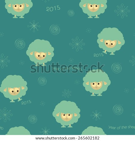 Seamless pattern with funny sheep, cristmas illustration - stock photo