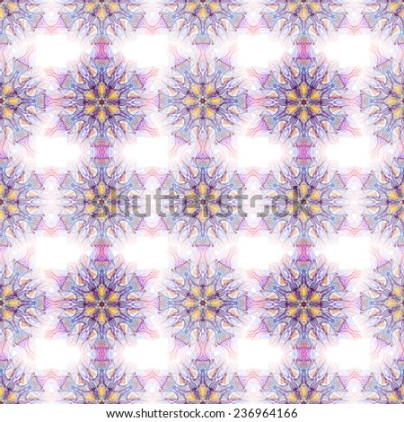 Seamless pattern with geometric round ornament. Hand drawn.  Fractal organic object or mandala. Vintage lace or snowflake or flower. - stock photo