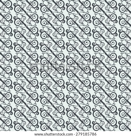 Seamless pattern with geometrically arranged curls. Stylized oriental ornament. Rasterized version. - stock photo