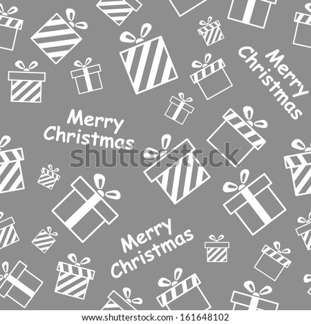 Seamless pattern with gift boxes and Merry Christmas text