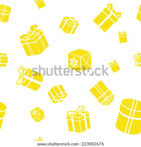 Seamless  pattern with gift boxes yellow illustration - stock photo