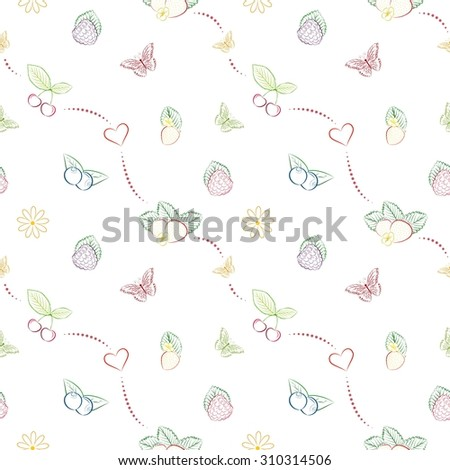 Seamless pattern with hand drawn berries. Unique and elegant background for jam labels, digital scrapbook, farm or clean eating website wallpapers, kitchen textile and wrapping paper - stock photo