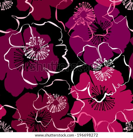 Seamless pattern with hand drawn outlines frangipani, Plumeria flowers. Ready to use as swatch. Raster version - stock photo