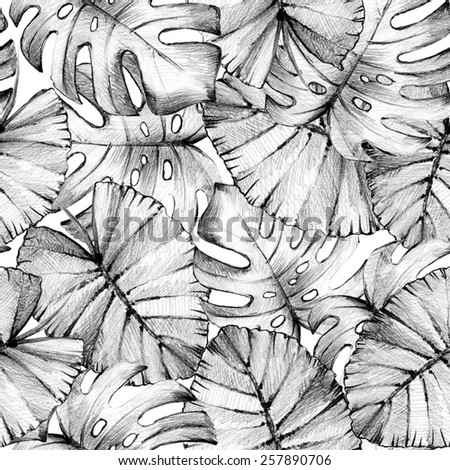 Seamless pattern with hand drawn palm leaves on white background. Abstract floral background. Pencil drawing. - stock photo