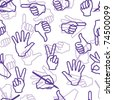 Seamless pattern with hand gestures. Vector version is in my portfolio - stock photo