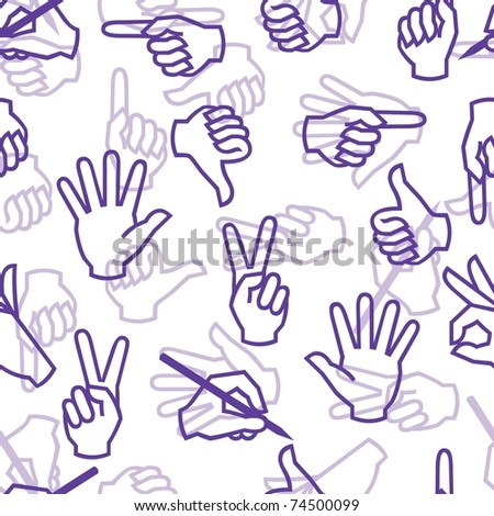 Seamless pattern with hand gestures. Vector version is in my portfolio