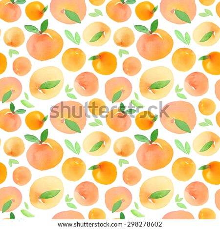 Seamless pattern with hand painted watercolor peaches. - stock photo