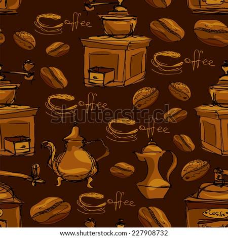 Seamless pattern with handdrawn coffee cups, beans, grinder, coffee pot, calligraphic text COFFEE. Background design for cafe or restaurant menu. Raster version - stock photo