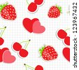 Seamless pattern with heart, cherry, strawberry.  Raster version illustration - stock