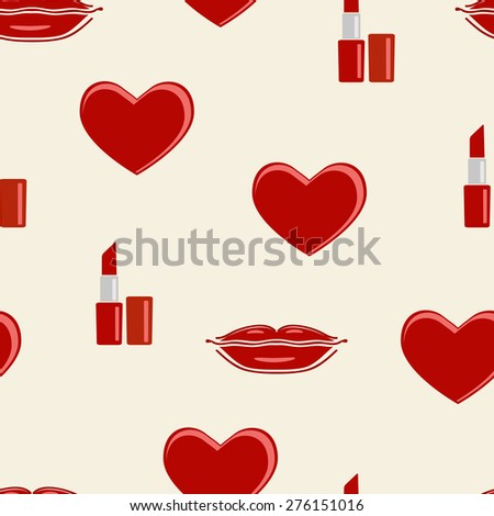 Seamless pattern with heart, lips and lipstick icons.  Cute red icons background can be copied without any seams. raster version illustration. - stock photo