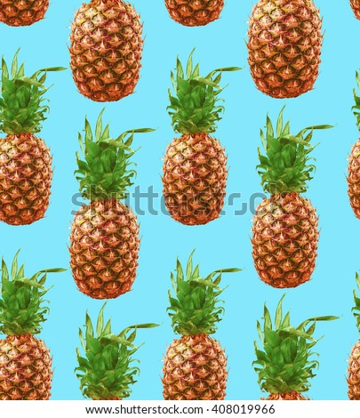 Seamless pattern with hipster pineapple summer decoration. Retro tropical style concept background.  - stock photo