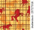 Seamless pattern with horses silhouettes and cells. Vector illustration - stock photo