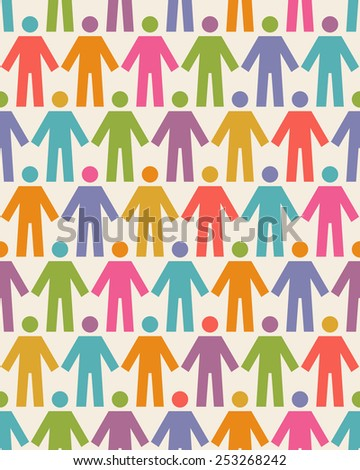Seamless pattern with icons of people figure. Background with color silhouettes of persons. Illustration for print, web