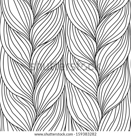Seamless pattern with interweaving of braids. Abstract illustration of hairstyle of plait. Black and white background in the form of a knitted fabric. Stylized textured yarn close-up - stock photo
