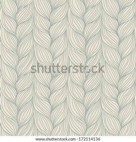 Seamless pattern with interweaving of braids. Abstract ornamental background in form of a knitted fabric. Decorative illustration of stylized textured yarn or hairstyle with plaits close-up - stock photo