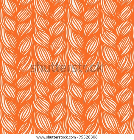 Seamless pattern with interweaving of orange braids. Abstract background in the form of a knitted fabric. Illustration of the textured yarn close-up. - stock photo