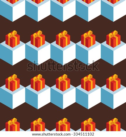 Seamless pattern with isometric white cubes and red gift boxes on a brown background. - stock photo