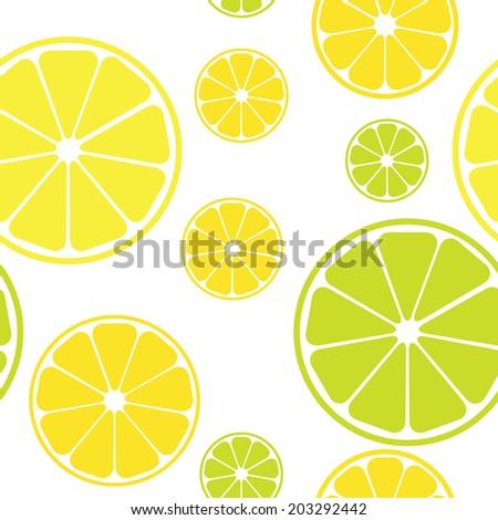 Seamless pattern with lemons white background. Raster version.  - stock photo