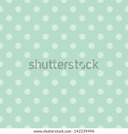 Seamless pattern with light green polka dots on a retro vintage mint green background. For desktop wallpaper, web design, hipster blog, wedding or baby shower albums, backgrounds, arts and scrapbooks - stock photo