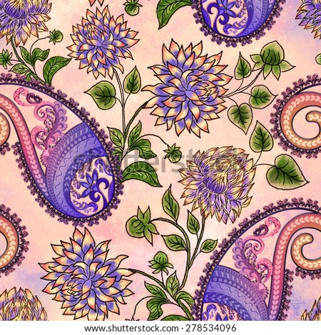 seamless pattern with lilac  dahlias decorated with colorful paisley  on grunge background - stock photo