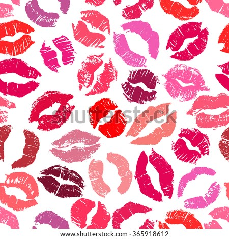 Seamless pattern with lipstick kisses. Imprints of colorful lipstick of red and pink shades isolated on a white background. Can be used for fabric print, wrapping paper or romantic greeting card - stock photo