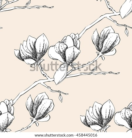 Seamless pattern with magnolia. Illustration