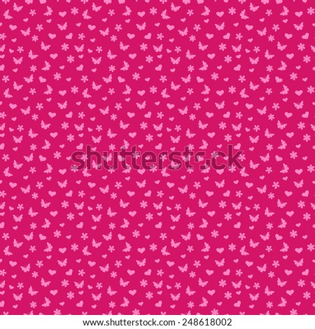 Seamless pattern with many small butterflies and flowers in pink hues - stock photo