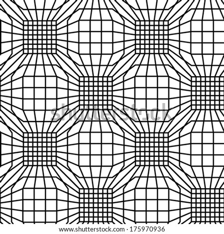 Seamless pattern with mesh of linear polygonal shapes. Illustration with texture of covering. Checkered background with volume effect for print, web - stock photo