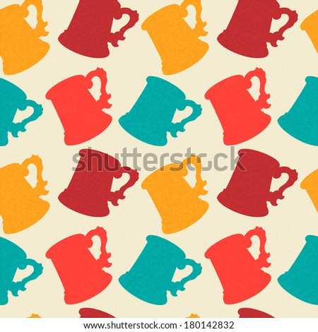Seamless Pattern with Mugs. Endless Print Silhouette Texture. Drinks. Hand Drawing. Retro. Vintage Style - raster version - stock photo