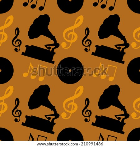 Seamless pattern with musical notes, treble clef, gramophone, vinyl record. Endless print silhouette texture. Retro. Vintage style. Fabric design. Wallpaper - raster version - stock photo