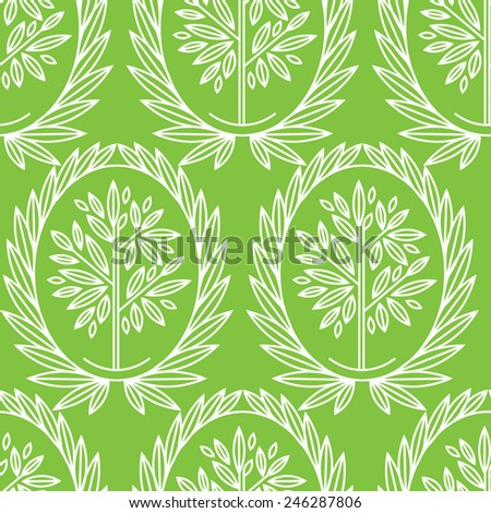 Seamless pattern with natural leafs - stock photo