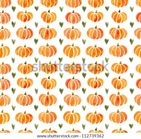 Seamless pattern with orange pumpkins and hearts - stock photo