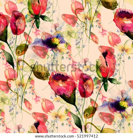 Seamless pattern with Original Summer flowers, watercolor illustration