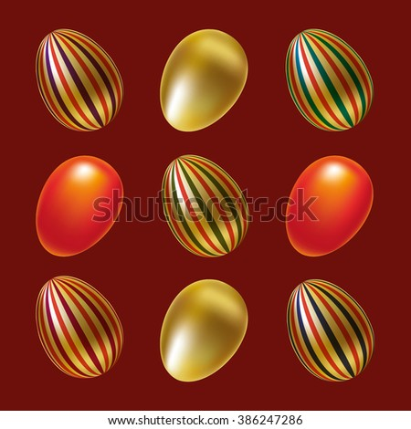Seamless pattern with painted Easter eggs on the red background.