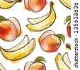 Seamless pattern with peach and banana. Painted in watercolor style. Raster version. Vector is also available in my gallery - stock photo
