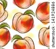 Seamless pattern with peach. Painted in watercolor style. Raster version. Vector is also available in my gallery - stock photo