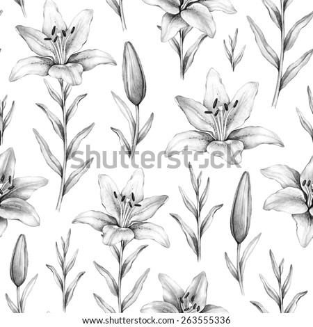 Seamless pattern with pencil drawings of lily flowers - stock photo